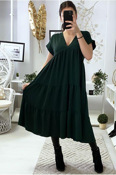 Longue robe tunique col V à volant en vert