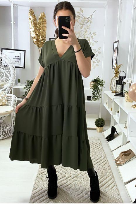 Longue robe tunique col V à volant en kaki