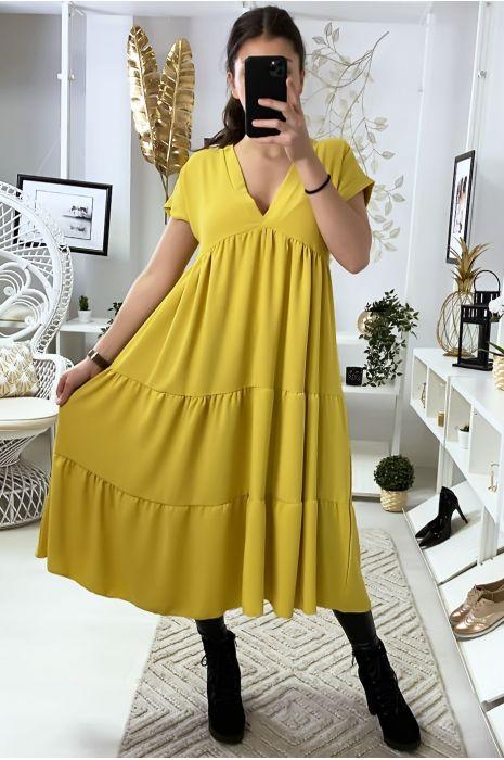 Longue robe tunique col V à volant en jaune