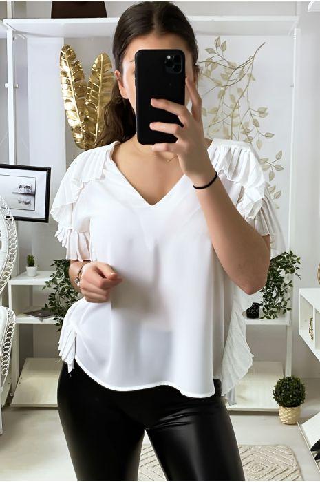 Witte crêpe blouse met plooien aan de randen