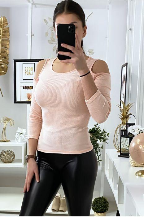 Roze geribbelde gebreide top met off-shoulder