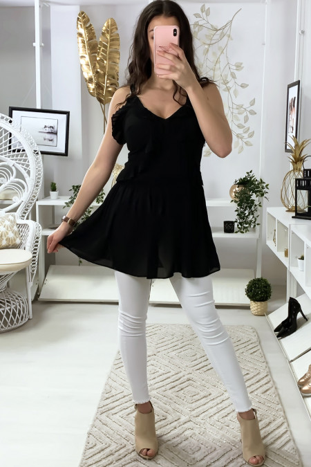 Black crepe tunic with suspender and frills