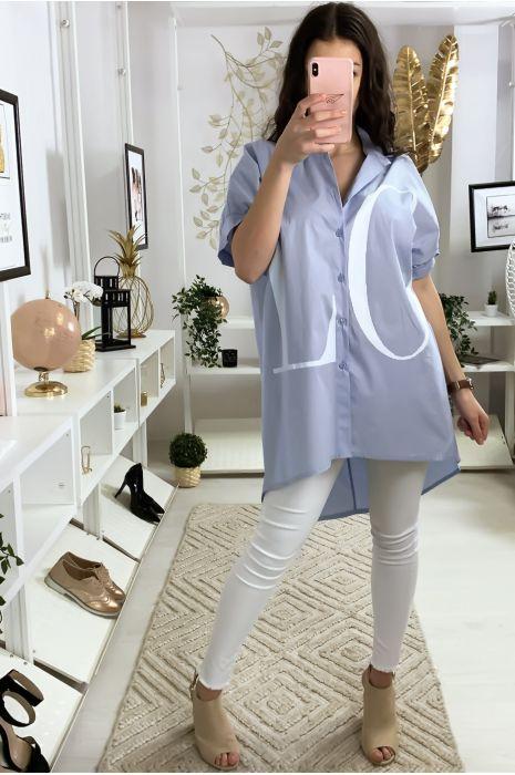 Longue chemise bleu avec écriture LOVE