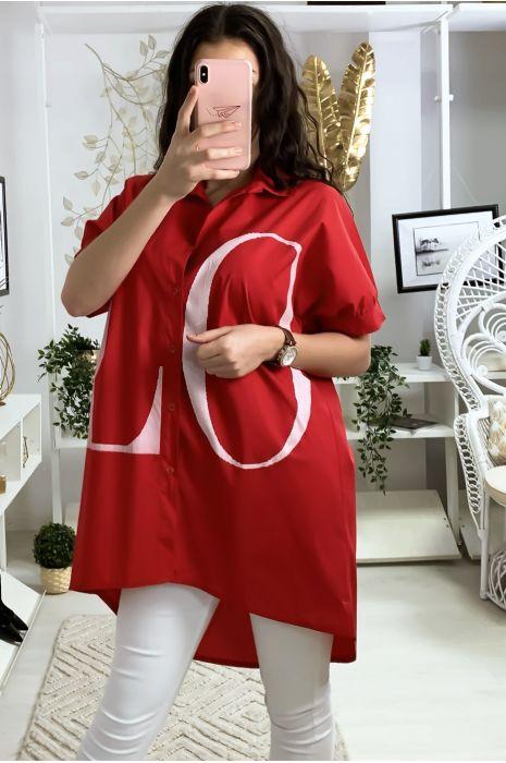 Longue chemise rouge avec écriture LOVE