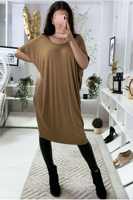 Magnifique robe tunique camel, coupe ample. Mode femme 1754