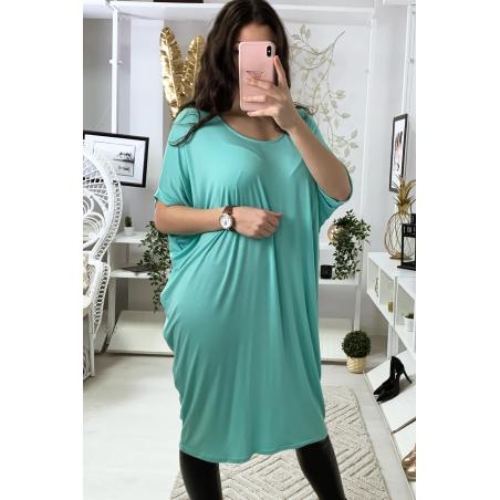 Magnifique robe tunique vert d'eau, coupe ample. Mode femme 1754