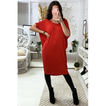 Magnifique robe tunique rouge, coupe ample. Mode femme 1754