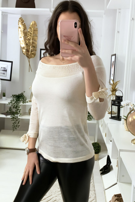Beige boat neck top with elastic and knot on the sleeves
