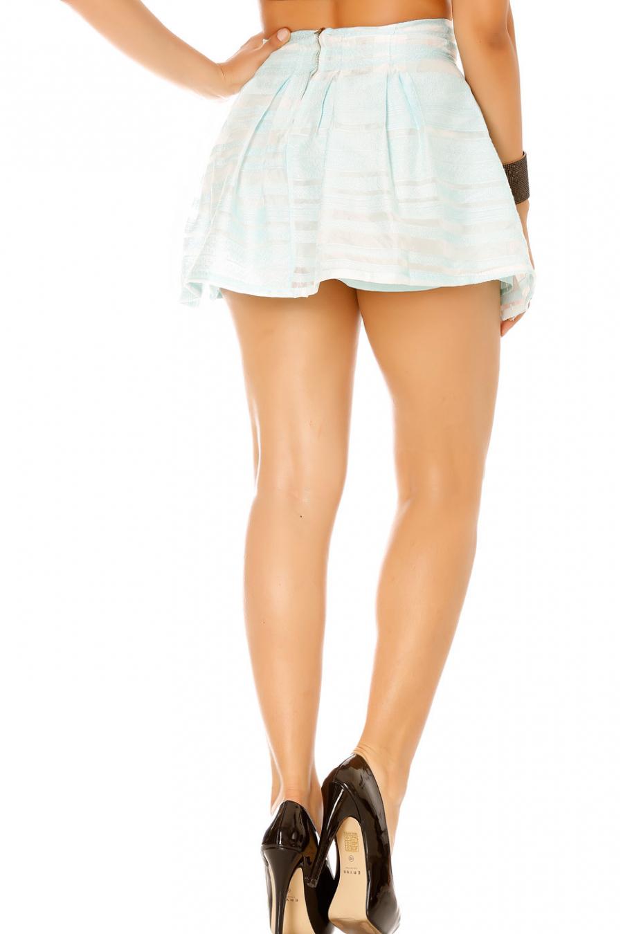 Jupe bleu à rayures transparente avec doublure. Femme 7720