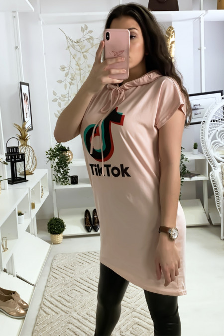 Pink hooded tunic with tik tok writing and hood