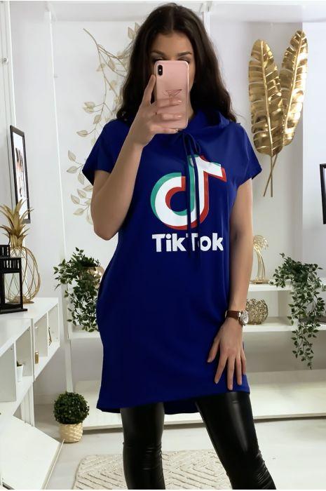 Tunique à capuche royal avec écriture tik tok et capuche