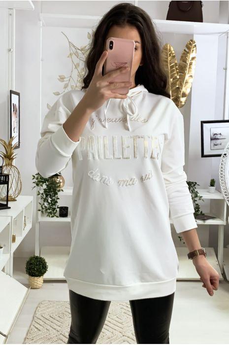 Witte hoodie met tekst Ik wil glitter in mijn leven
