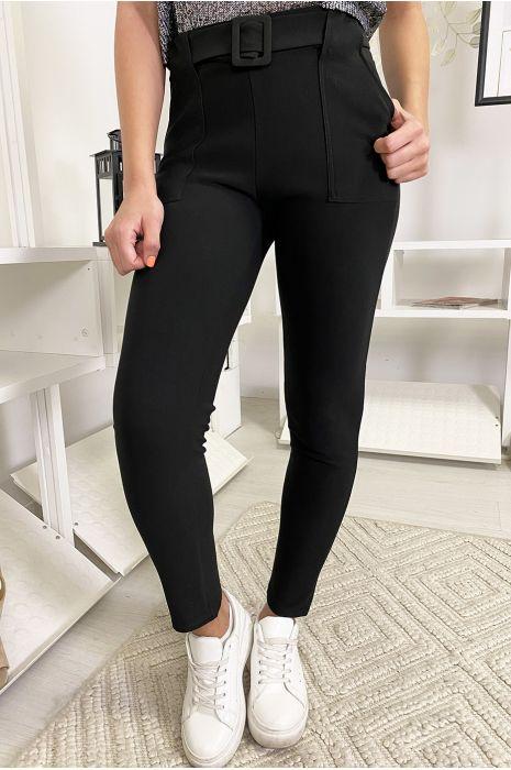 Zwarte slanke broek met zak en riem