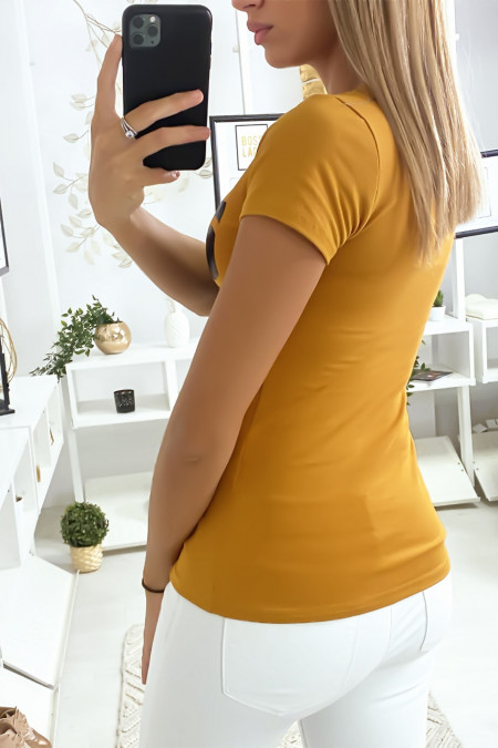 Mustard cotton T-shirt with COCO writing