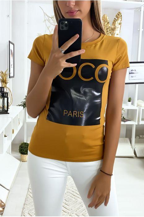 Tee-shirt en coton moutarde avec écriture COCO