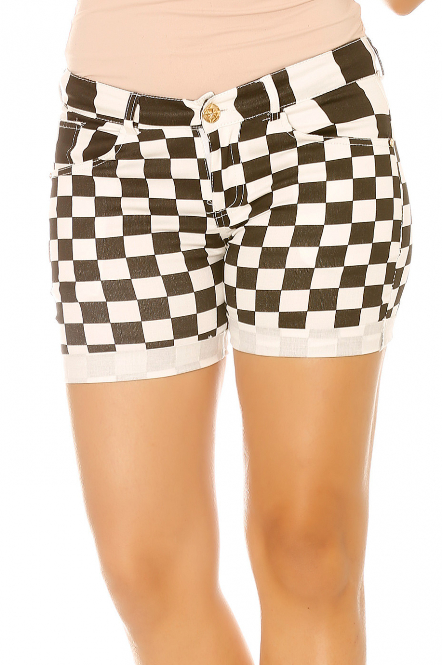 Black and white shorts with trendy checks. Fashion 856-1