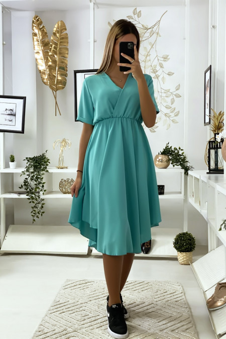 Turquoise crossover dress with very trendy bust