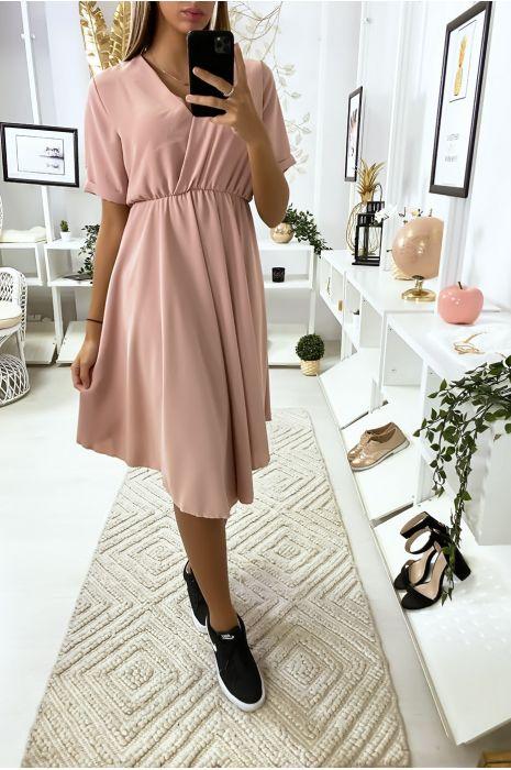 Roze gekruiste jurk met zeer trendy buste