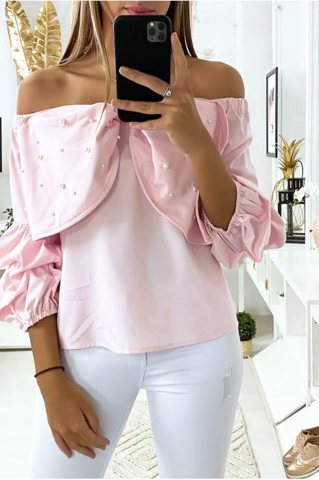 Roze blouse met vlinders versierd met strass steentjes aan de voorzijde