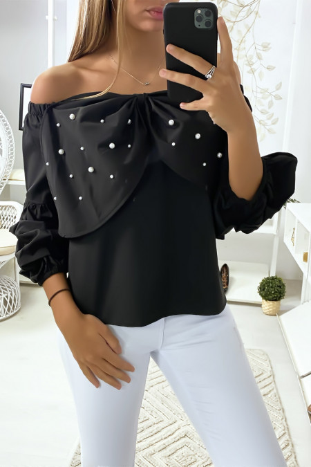 Black blouse with butterflies decorated with rhinestones on the front