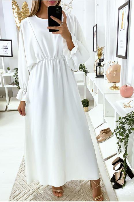 Robe femme longue blanche à col rond