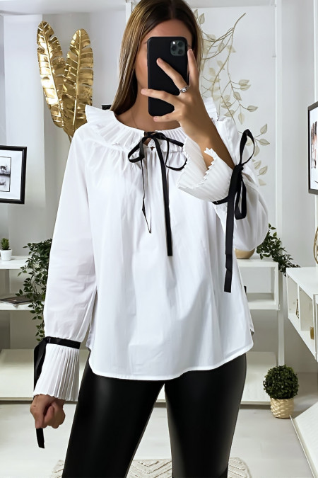 White blouse with pleated collar and sleeves