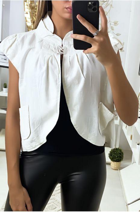 Boléro blanc en lin et coton