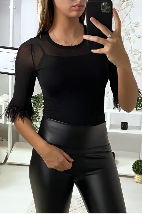 Body en tulle noir avec plumes aux manches