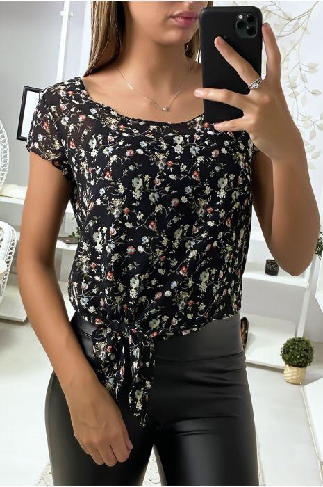 Crop Top en voilage Noir à motif Fleurs