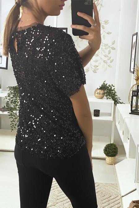 Glitter top in black