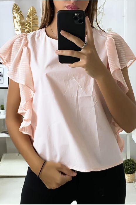 Roze blouse met tule volantmouwen