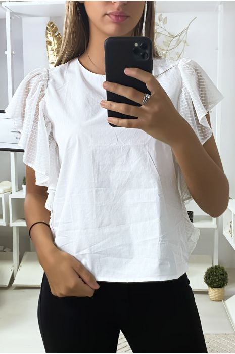 Witte blouse met tule volantmouwen