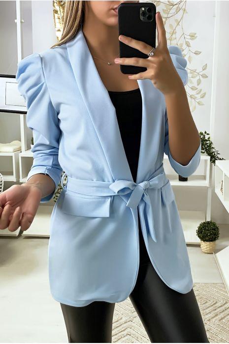 Turquoise blazer met gepofte schouders en riem