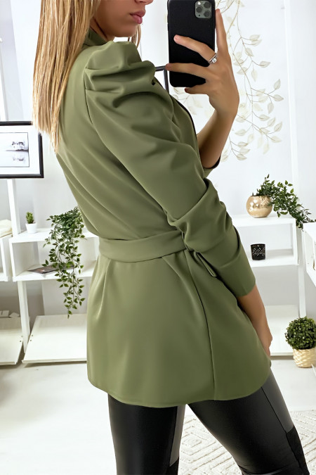 Khaki blazer with puffed shoulders and belt