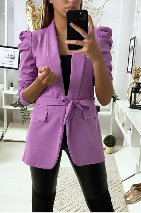 Blazer violet avec épaules bouffante et ceinture