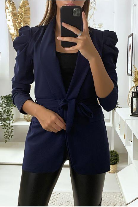Navy blazer met gepofte schouders en riem