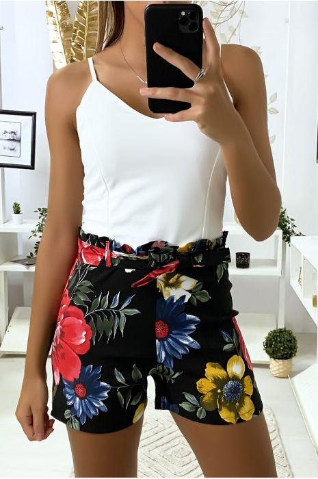 Combi-short noir à motif fleuris avec bretelles