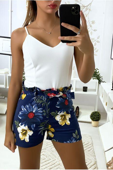 Combi-short marine à motif fleuris avec bretelles