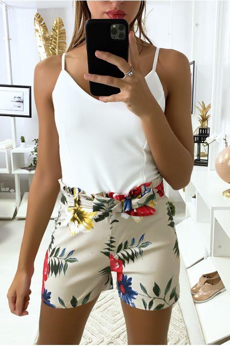 Combi-short beige à motif fleuris avec bretelles