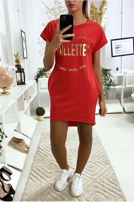 Robe tunique rouge avec poche écriture je veux des paillettes dans ma vie