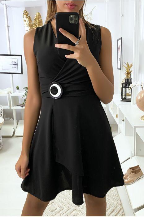 Robe porte feuille noir avec ceinture en anneaux