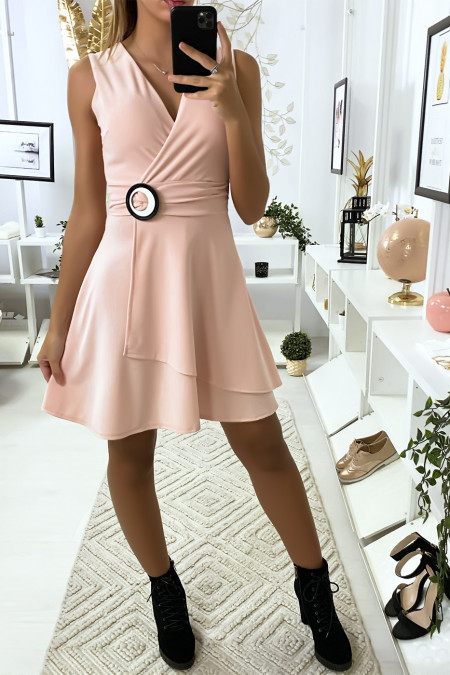 Pink wrap dress with ring belt