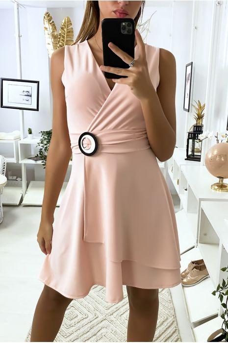 Robe porte feuille rose avec ceinture en anneaux