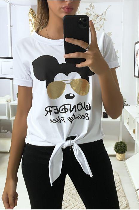 Teeshirt blanc avec dessin et noeud devant