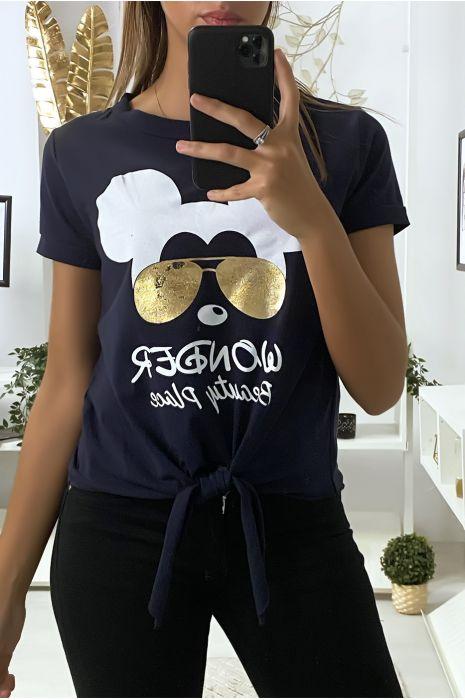Teeshirt marine avec dessin et noeud devant