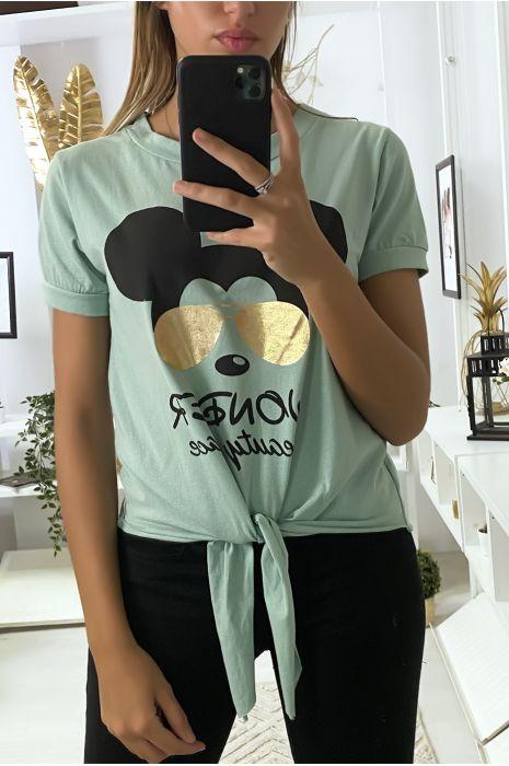 Teeshirt vert d'eau avec dessin et noeud devant