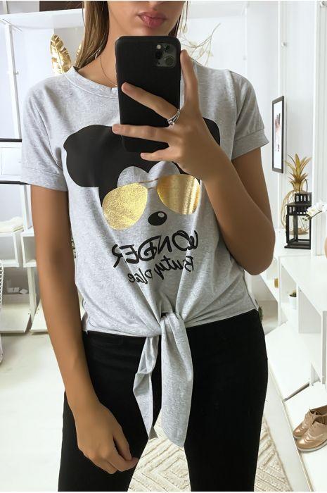 Teeshirt gris avec dessin et noeud devant