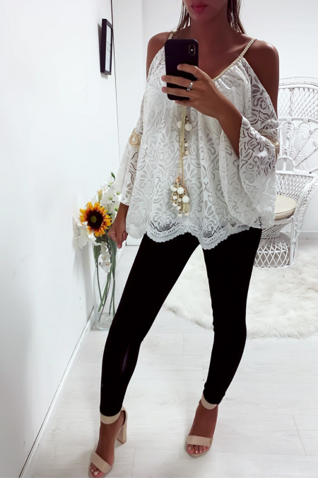 Pretty white lace top off the shoulders with accessory at the collar