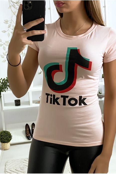 Tee shirt en coton rose avec écriture TIKTOK