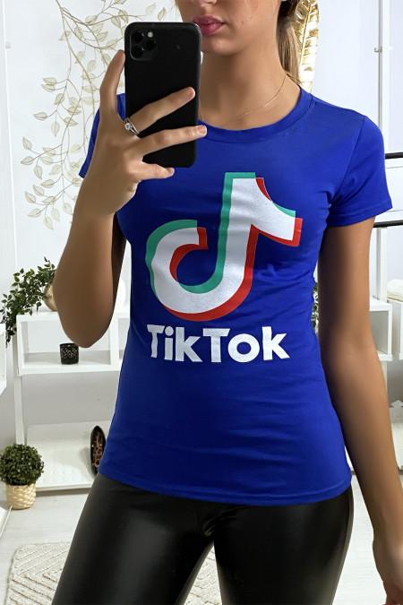 Royal cotton t-shirt with TIKTOK writing